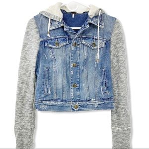 Free People Distressed Hoodie Jean Jacket